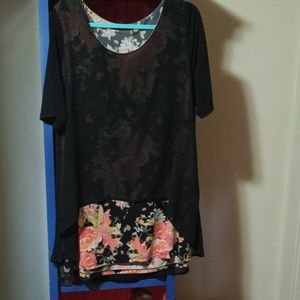 Tunic with sheer overlay